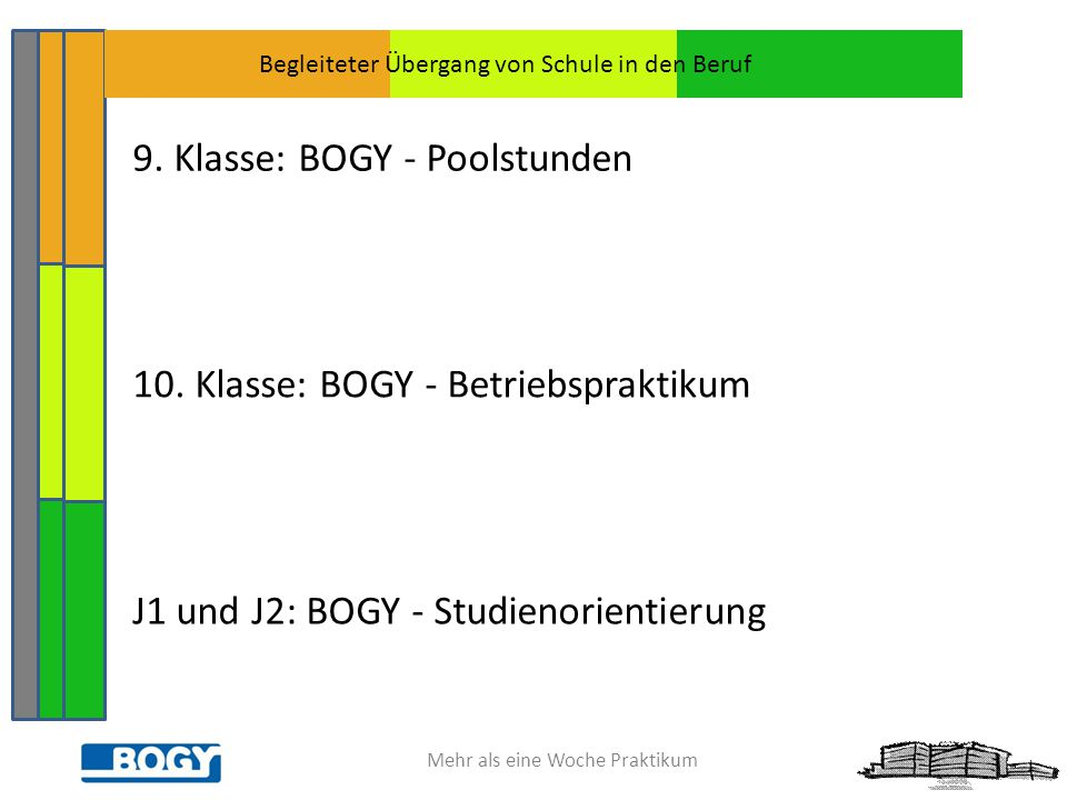 Mehr als eine Woche Praktikum 9. Klasse: BOGY - Poolstunden 10. Klasse: BOGY - Betriebspraktikum J1 und J2: BOGY - Studienorientierung Begleiteter Übe