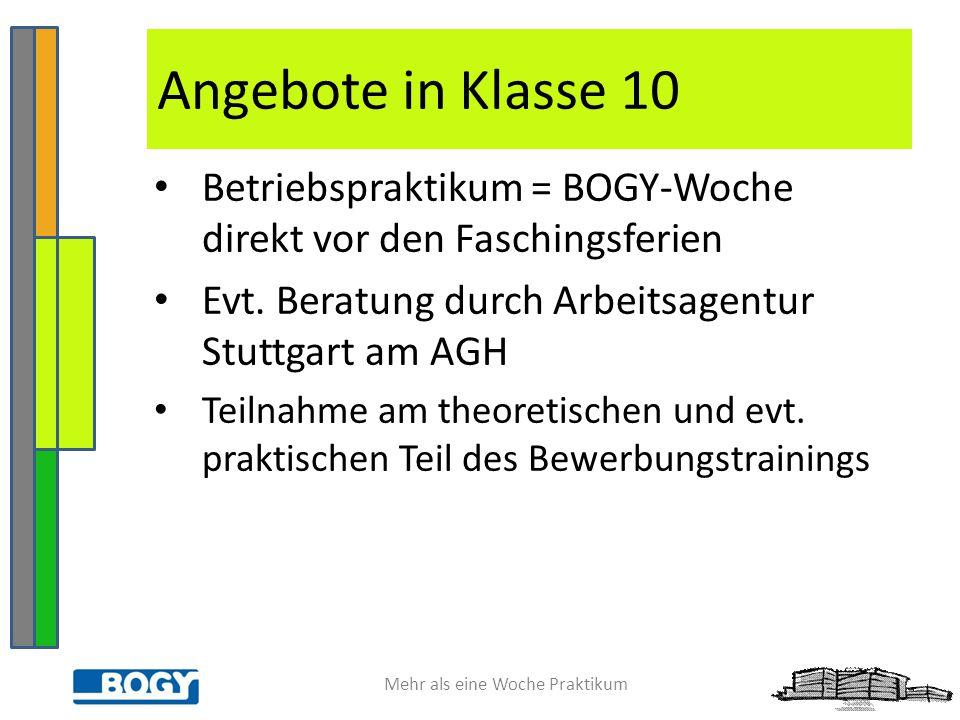 Mehr als eine Woche Praktikum Betriebspraktikum = BOGY-Woche direkt vor den Faschingsferien Evt. Beratung durch Arbeitsagentur Stuttgart am AGH Teilna