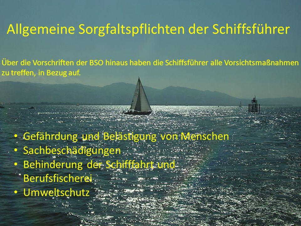 Allgemeine Sorgfaltspflichten der Schiffsführer Gefährdung und Belästigung von Menschen Sachbeschädigungen Behinderung der Schifffahrt und Berufsfisch