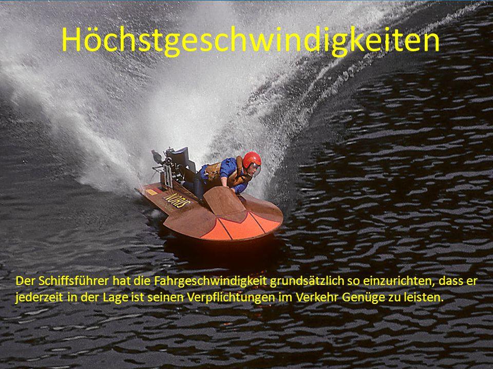 auf der freien Seefläche 40 km/h oder 21,85 kn in der 300 m Uferzone 10 km/h oder 5,4 kn auf dem alten Rhein 10 km/h oder 5,4 kn auf dem Seerhein 10 km/h oder 5,4 kn auf dem Hochrhein Bergfahrt 10 km/h Talfahrt 20 km/h in der Fussacher Bucht 10 km/h in Fahrrinnen 10 km/h im Hafengelände des MBSV 4 Km/h (Schritttempo)