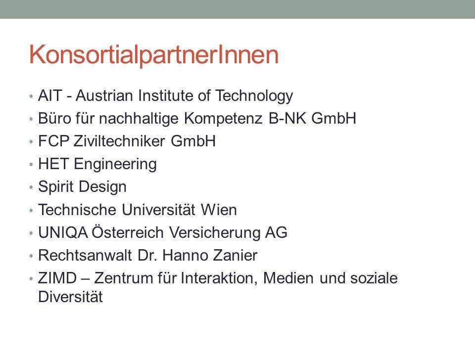 KonsortialpartnerInnen AIT - Austrian Institute of Technology Büro für nachhaltige Kompetenz B-NK GmbH FCP Ziviltechniker GmbH HET Engineering Spirit