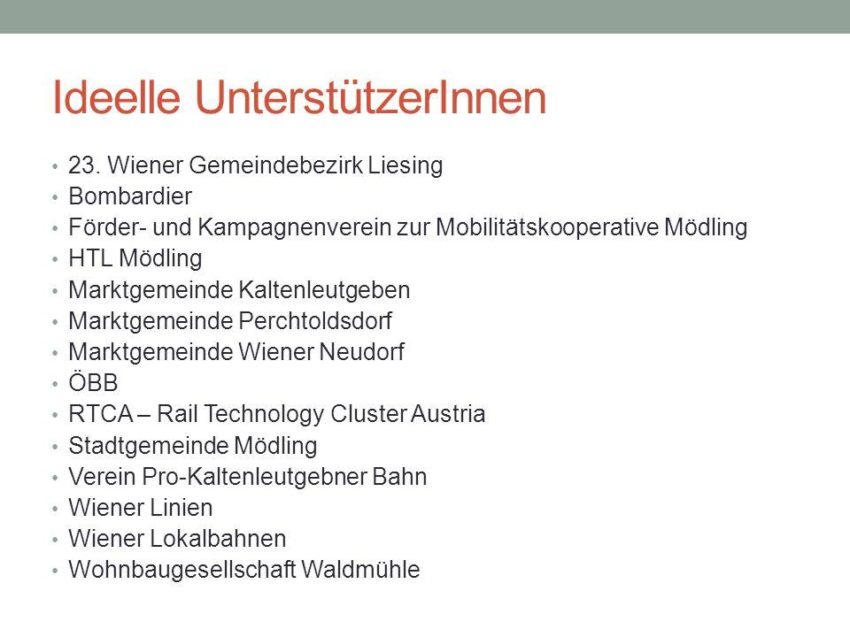 Ideelle UnterstützerInnen 23. Wiener Gemeindebezirk Liesing Bombardier Förder- und Kampagnenverein zur Mobilitätskooperative Mödling HTL Mödling Markt
