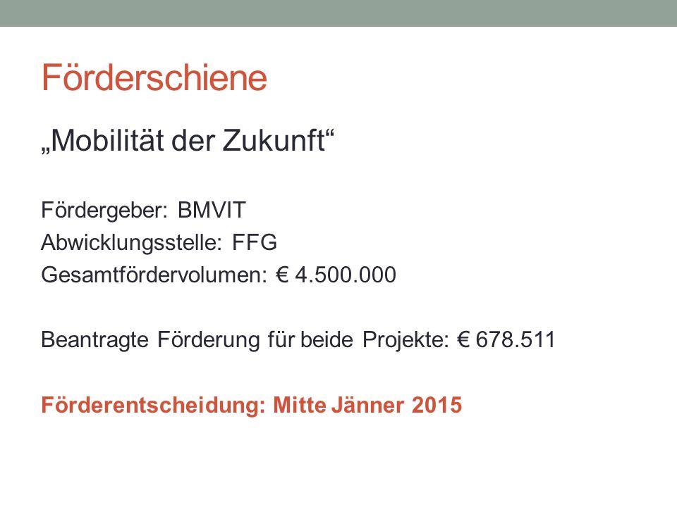 """Förderschiene """"Mobilität der Zukunft"""" Fördergeber: BMVIT Abwicklungsstelle: FFG Gesamtfördervolumen: € 4.500.000 Beantragte Förderung für beide Projek"""