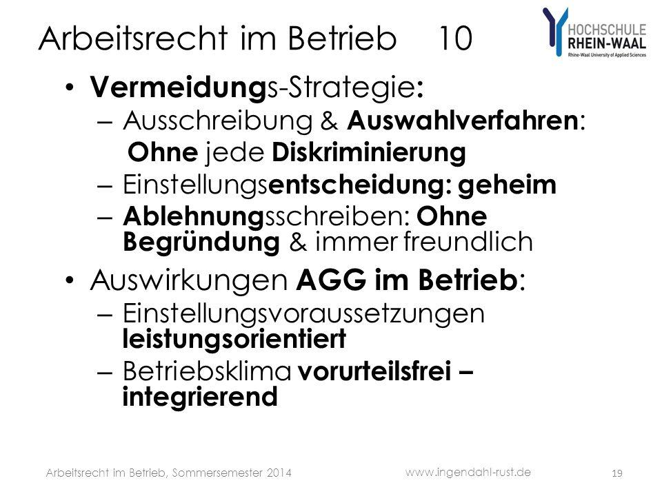 Arbeitsrecht im Betrieb 10 Vermeidung s-Strategie : – Ausschreibung & Auswahlverfahren : Ohne jede Diskriminierung – Einstellungs entscheidung: geheim