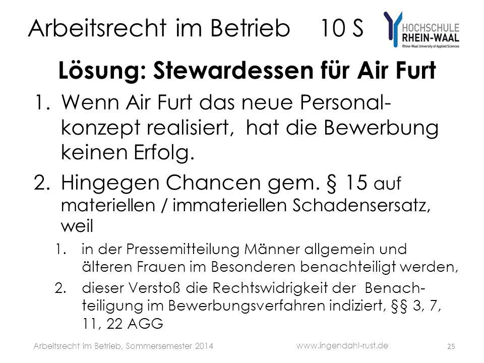 Arbeitsrecht im Betrieb 10 S Lösung: Stewardessen für Air Furt 1.Wenn Air Furt das neue Personal- konzept realisiert, hat die Bewerbung keinen Erfolg.