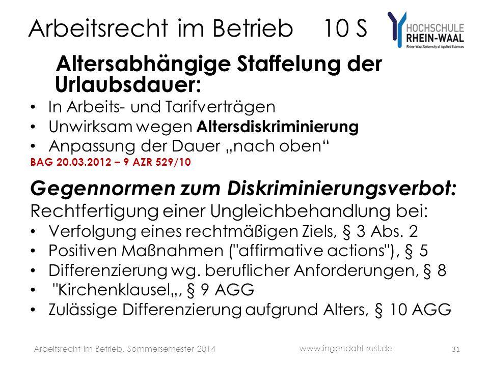 Arbeitsrecht im Betrieb 10 S Altersabhängige Staffelung der Urlaubsdauer: In Arbeits- und Tarifverträgen Unwirksam wegen Altersdiskriminierung Anpassu