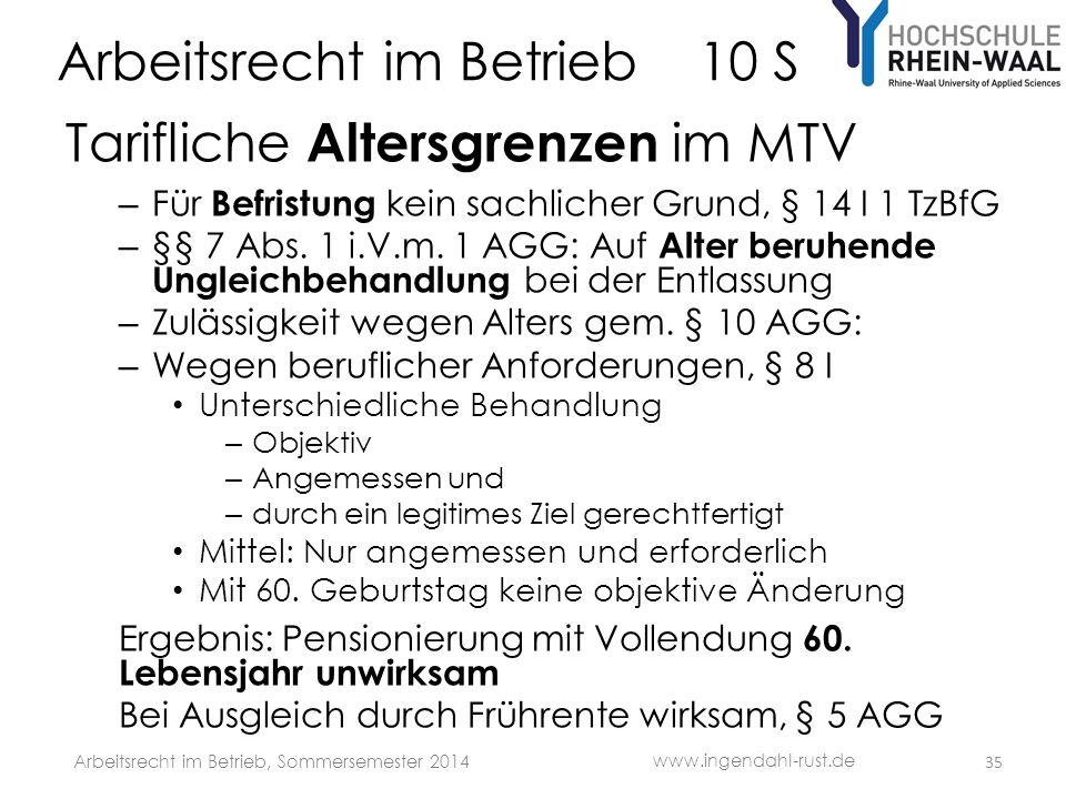 Arbeitsrecht im Betrieb 10 S Tarifliche Altersgrenzen im MTV – Für Befristung kein sachlicher Grund, § 14 I 1 TzBfG – §§ 7 Abs. 1 i.V.m. 1 AGG: Auf Al