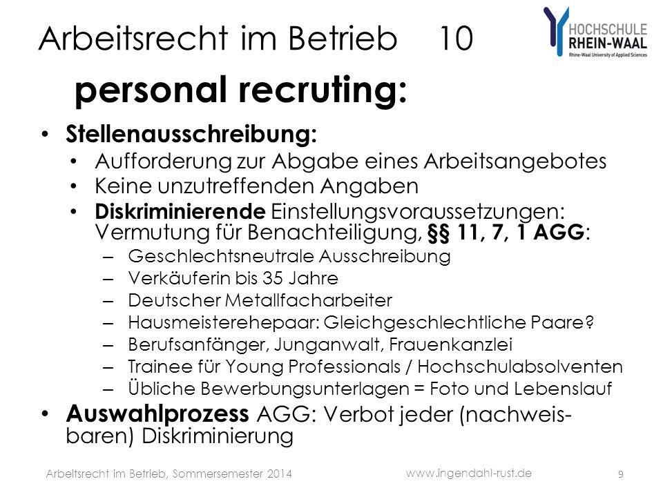 Arbeitsrecht im Betrieb 10 personal recruting: Stellenausschreibung: Aufforderung zur Abgabe eines Arbeitsangebotes Keine unzutreffenden Angaben Diskr