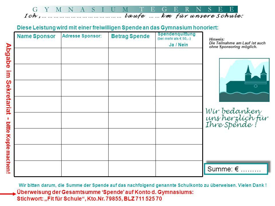 Wichtige Hinweise für unsere Teilnehmer am Tegernseelauf 21.09.2014 1.Nummernausgabe: Die Startnummern werden vor dem Lauf in der Schule ausgegeben.