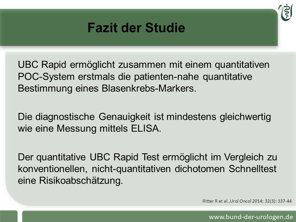 www.bund-der-urologen.de Fazit der Studie UBC Rapid ermöglicht zusammen mit einem quantitativen POC-System erstmals die patienten-nahe quantitative Be