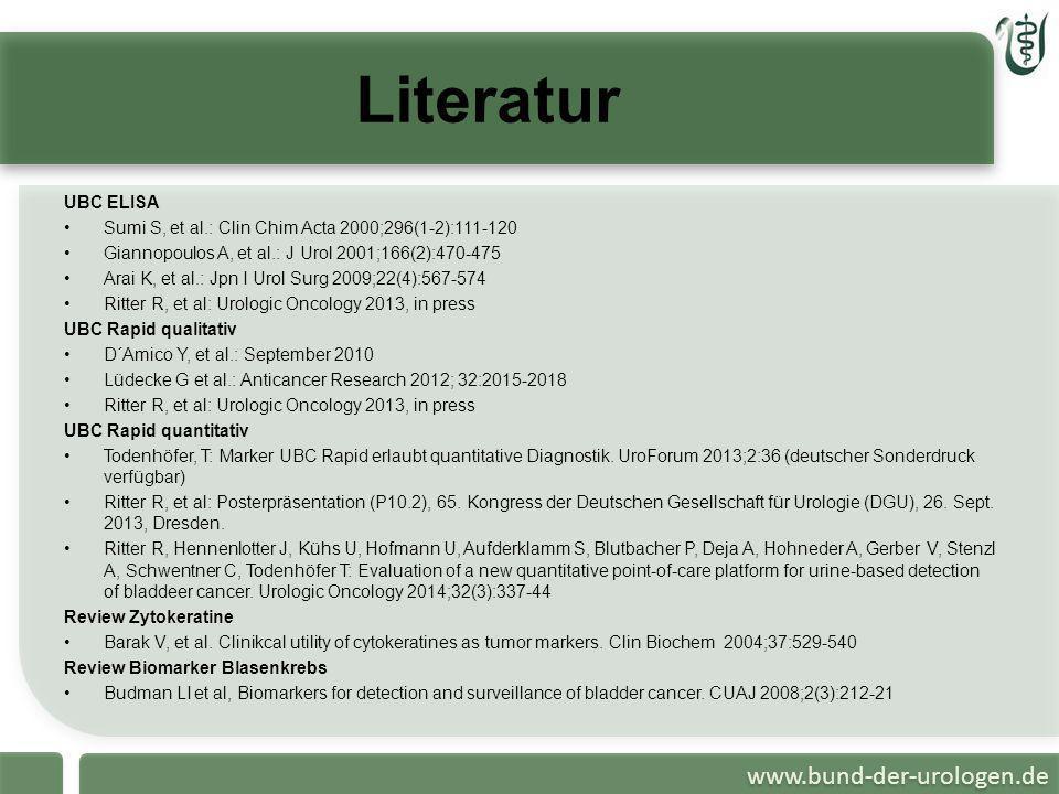 www.bund-der-urologen.de Literatur UBC ELISA Sumi S, et al.: Clin Chim Acta 2000;296(1-2):111-120 Giannopoulos A, et al.: J Urol 2001;166(2):470-475 A
