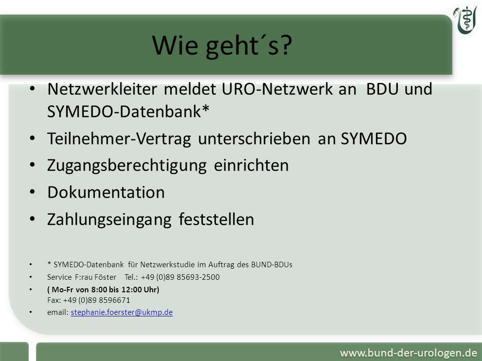 www.bund-der-urologen.de Wie geht´s? Netzwerkleiter meldet URO-Netzwerk an BDU und SYMEDO-Datenbank* Teilnehmer-Vertrag unterschrieben an SYMEDO Zugan