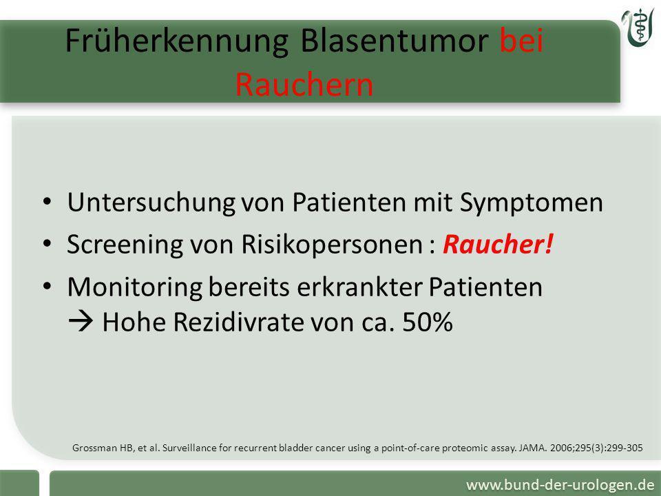 www.bund-der-urologen.de Früherkennung Blasentumor bei Rauchern Grossman HB, et al. Surveillance for recurrent bladder cancer using a point-of-care pr