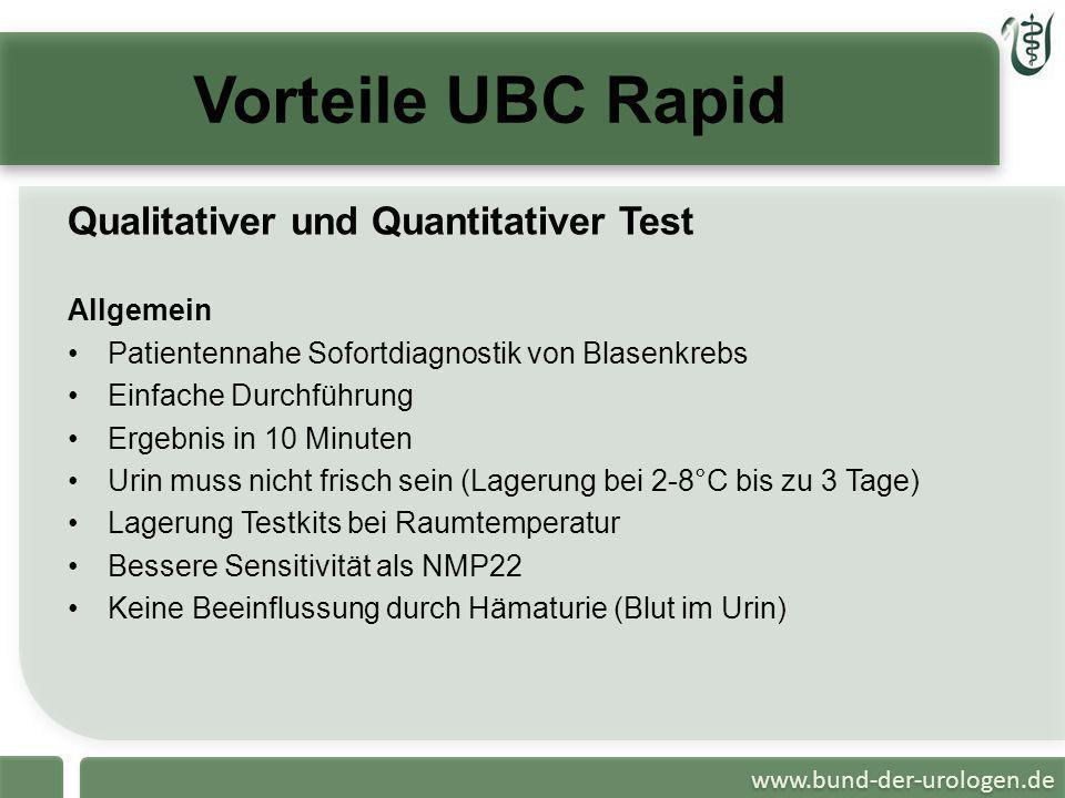 www.bund-der-urologen.de Vorteile UBC Rapid Qualitativer und Quantitativer Test Allgemein Patientennahe Sofortdiagnostik von Blasenkrebs Einfache Durc