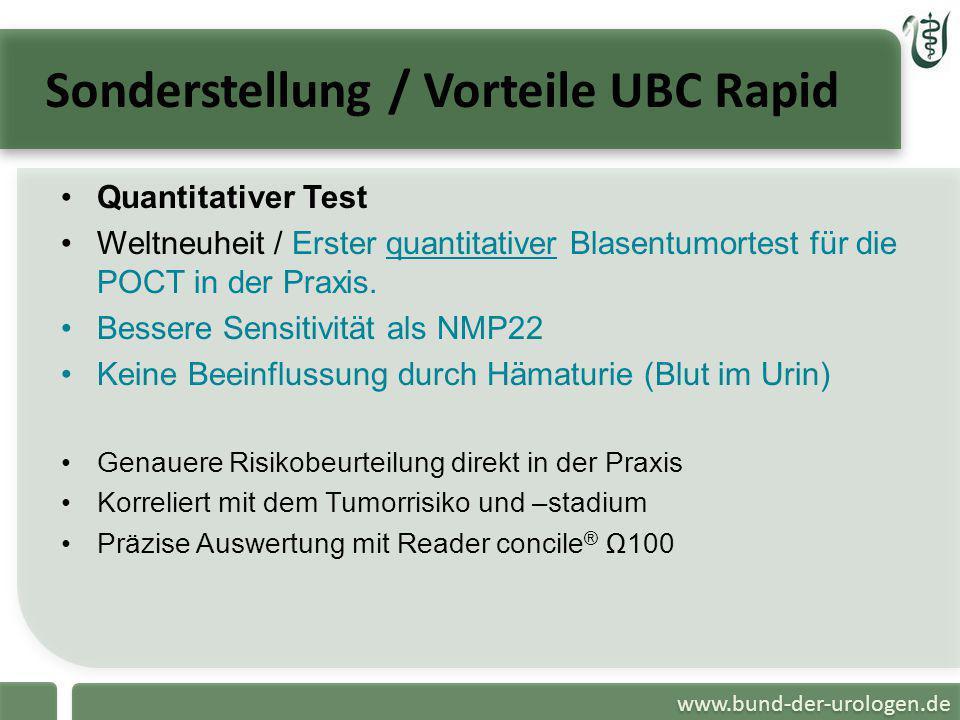 www.bund-der-urologen.de Sonderstellung / Vorteile UBC Rapid Quantitativer Test Weltneuheit / Erster quantitativer Blasentumortest für die POCT in der