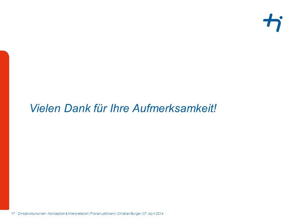 17 Vielen Dank für Ihre Aufmerksamkeit! Zinsstrukturkurven - Konzeption & Interpretation | Florian Leßmann, Christian Burger | 07. April 2014