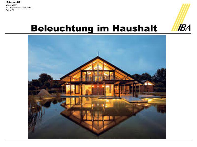 IBAarau AG Div. / EWP 24. September 2014 DSC Seite 21 Beleuchtung im Haushalt