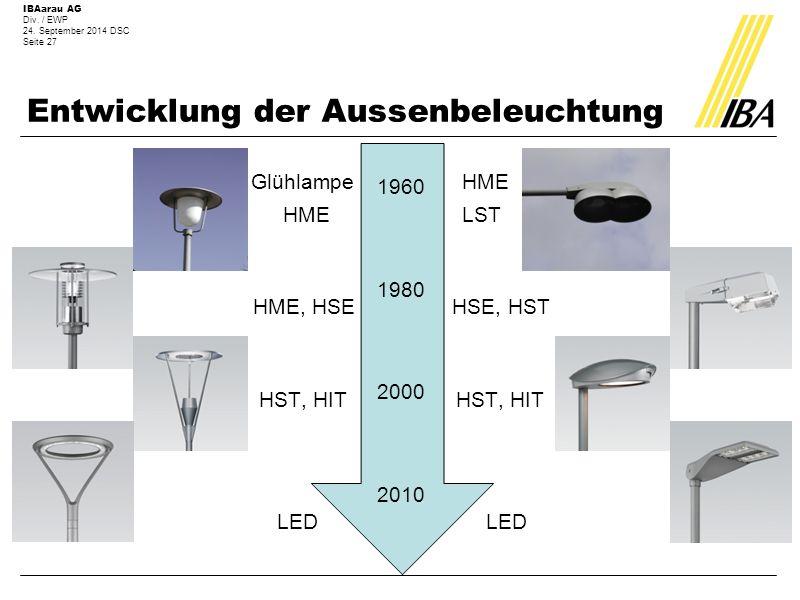 IBAarau AG Div. / EWP 24. September 2014 DSC Seite 27 Entwicklung der Aussenbeleuchtung Glühlampe HME HME LST HME, HSE HSE, HST HST, HIT HST, HIT LED