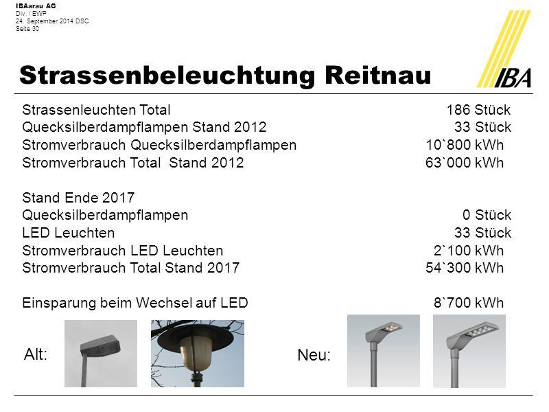 IBAarau AG Div. / EWP 24. September 2014 DSC Seite 30 Strassenbeleuchtung Reitnau Strassenleuchten Total 186 Stück Quecksilberdampflampen Stand 2012 3