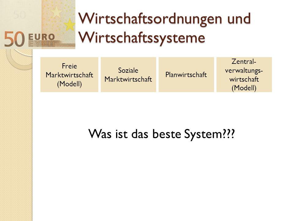 Wirtschaftsordnungen und Wirtschaftssysteme Was ist das beste System??? Freie Marktwirtschaft (Modell) Soziale Marktwirtschaft Planwirtschaft Zentral-