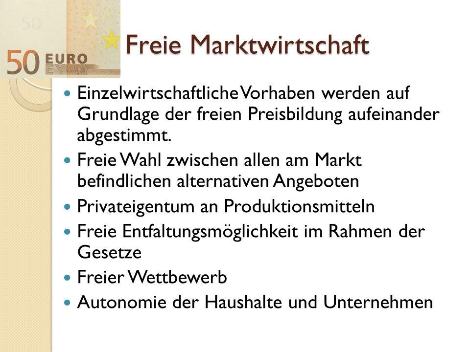 Freie Marktwirtschaft Einzelwirtschaftliche Vorhaben werden auf Grundlage der freien Preisbildung aufeinander abgestimmt. Freie Wahl zwischen allen am
