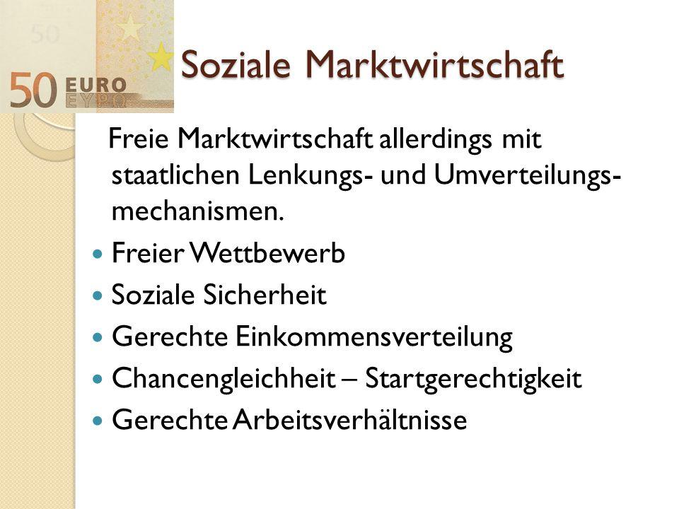 Soziale Marktwirtschaft Freie Marktwirtschaft allerdings mit staatlichen Lenkungs- und Umverteilungs- mechanismen. Freier Wettbewerb Soziale Sicherhei