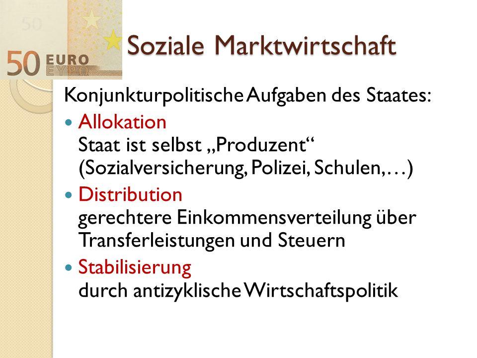 """Soziale Marktwirtschaft Konjunkturpolitische Aufgaben des Staates: Allokation Staat ist selbst """"Produzent"""" (Sozialversicherung, Polizei, Schulen,…) Di"""