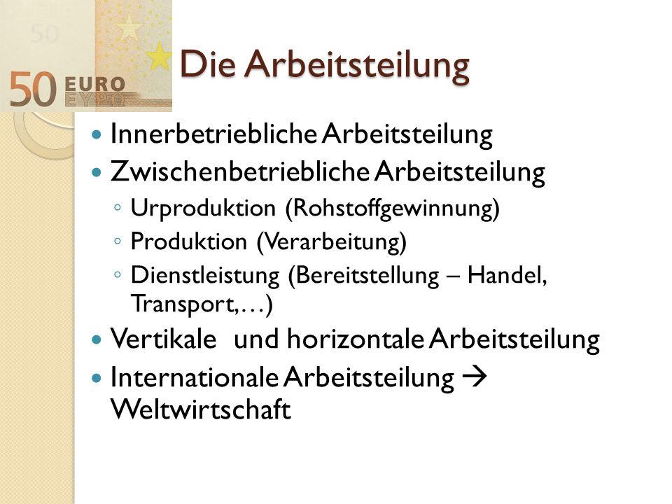 Die Arbeitsteilung Innerbetriebliche Arbeitsteilung Zwischenbetriebliche Arbeitsteilung ◦ Urproduktion (Rohstoffgewinnung) ◦ Produktion (Verarbeitung)