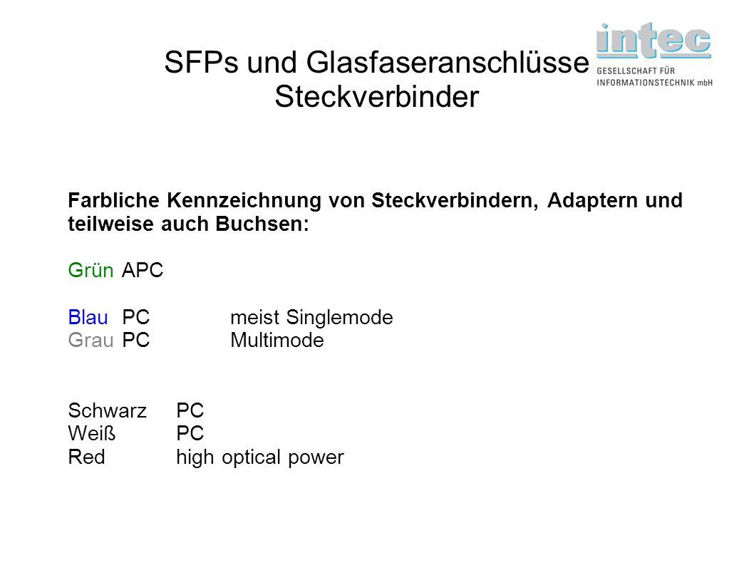 SFPs und Glasfaseranschlüsse Steckverbinder Farbliche Kennzeichnung von Steckverbindern, Adaptern und teilweise auch Buchsen: GrünAPC BlauPCmeist Sing