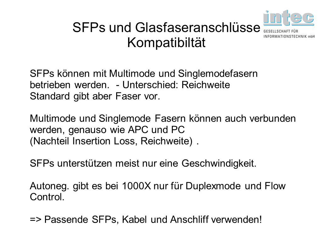 SFPs und Glasfaseranschlüsse Kompatibiltät SFPs können mit Multimode und Singlemodefasern betrieben werden. - Unterschied: Reichweite Standard gibt ab