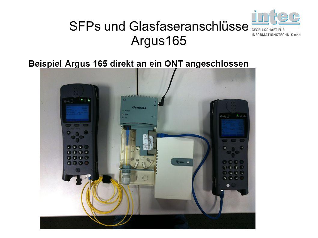 SFPs und Glasfaseranschlüsse Argus165 Beispiel Argus 165 direkt an ein ONT angeschlossen