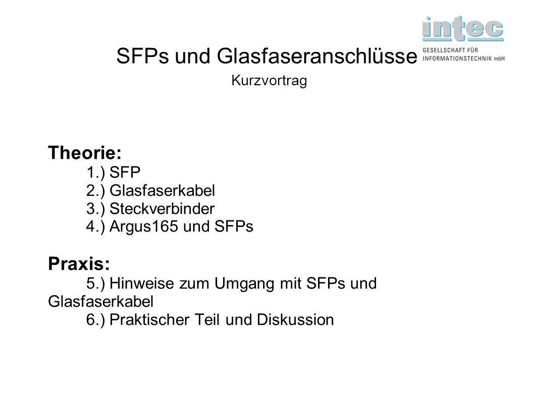 SFPs und Glasfaseranschlüsse Kurzvortrag Theorie: 1.) SFP 2.) Glasfaserkabel 3.) Steckverbinder 4.) Argus165 und SFPs Praxis: 5.) Hinweise zum Umgang