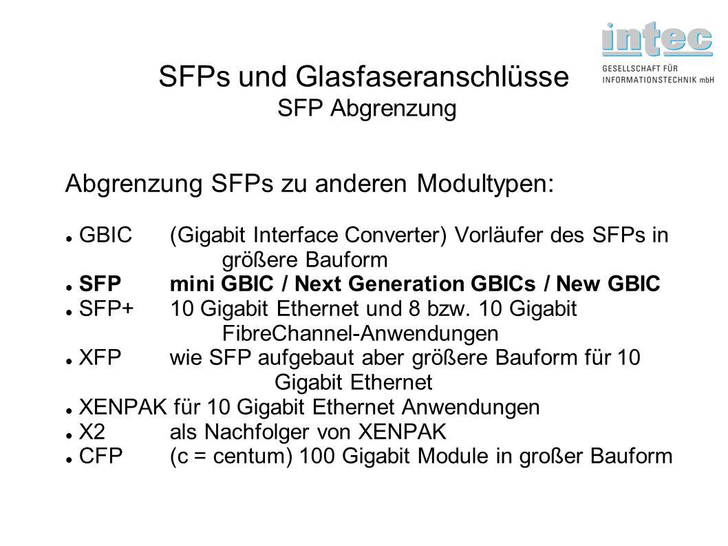 SFPs und Glasfaseranschlüsse SFP Abgrenzung Abgrenzung SFPs zu anderen Modultypen: GBIC (Gigabit Interface Converter) Vorläufer des SFPs in größere Ba