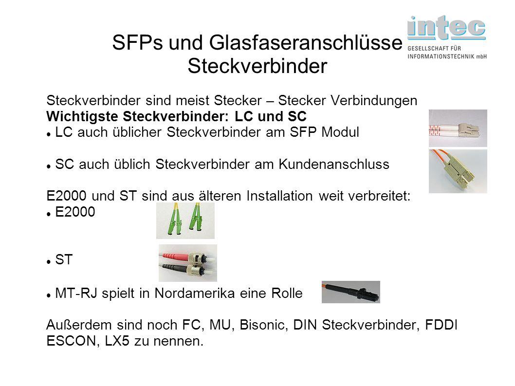 SFPs und Glasfaseranschlüsse Steckverbinder Steckverbinder sind meist Stecker – Stecker Verbindungen Wichtigste Steckverbinder: LC und SC LC auch übli