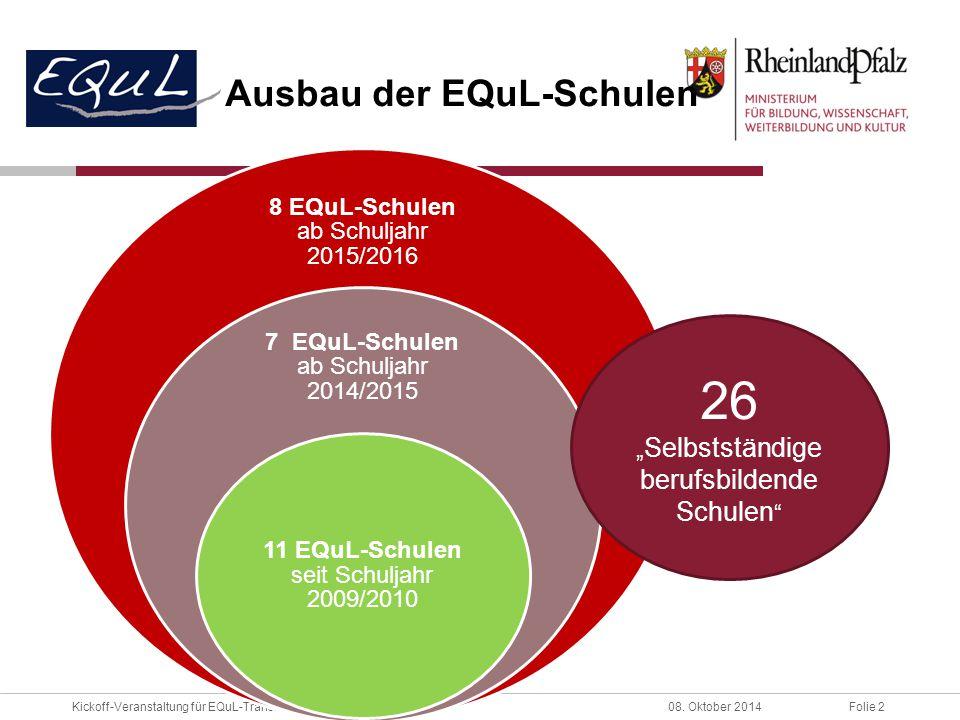 Folie 2Kickoff-Veranstaltung für EQuL-Transfer08. Oktober 2014 Ausbau der EQuL-Schulen 8 EQuL-Schulen ab Schuljahr 2015/2016 7 EQuL-Schulen ab Schulja