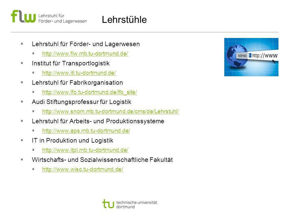 Lehrstühle  Lehrstuhl für Förder- und Lagerwesen  http://www.flw.mb.tu-dortmund.de/ http://www.flw.mb.tu-dortmund.de/  Institut für Transportlogistik  http://www.itl.tu-dortmund.de/ http://www.itl.tu-dortmund.de/  Lehrstuhl für Fabrikorganisation  http://www.lfo.tu-dortmund.de/lfo_site/ http://www.lfo.tu-dortmund.de/lfo_site/  Audi Stiftungsprofessur für Logistik  http://www.snom.mb.tu-dortmund.de/cms/de/Lehrstuhl/ http://www.snom.mb.tu-dortmund.de/cms/de/Lehrstuhl/  Lehrstuhl für Arbeits- und Produktionssysteme  http://www.aps.mb.tu-dortmund.de/ http://www.aps.mb.tu-dortmund.de/  IT in Produktion und Logistik  http://www.itpl.mb.tu-dortmund.de/ http://www.itpl.mb.tu-dortmund.de/  Wirtschafts- und Sozialwissenschaftliche Fakultät  http://www.wiso.tu-dortmund.de/ http://www.wiso.tu-dortmund.de/