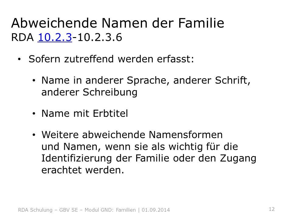 Abweichende Namen der Familie RDA 10.2.3-10.2.3.610.2.3 Sofern zutreffend werden erfasst: Name in anderer Sprache, anderer Schrift, anderer Schreibung
