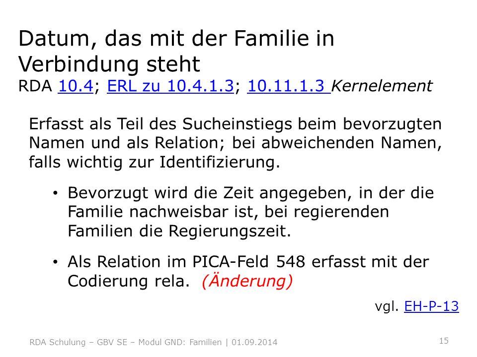 Datum, das mit der Familie in Verbindung steht RDA 10.4; ERL zu 10.4.1.3; 10.11.1.3 Kernelement10.4ERL zu 10.4.1.310.11.1.3 Erfasst als Teil des Suche