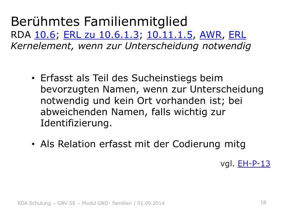 Berühmtes Familienmitglied RDA 10.6; ERL zu 10.6.1.3; 10.11.1.5, AWR, ERL Kernelement, wenn zur Unterscheidung notwendig10.6ERL zu 10.6.1.310.11.1.5AW