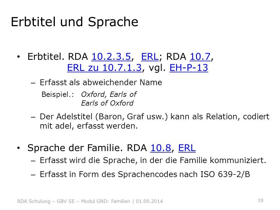 Erbtitel und Sprache Erbtitel. RDA 10.2.3.5, ERL; RDA 10.7, ERL zu 10.7.1.3, vgl. EH-P-1310.2.3.5ERL10.7ERL zu 10.7.1.3EH-P-13 – Erfasst als abweichen