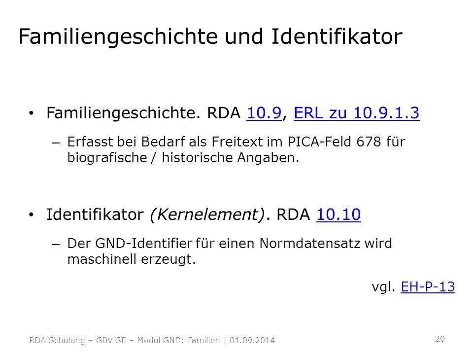 Familiengeschichte und Identifikator Familiengeschichte. RDA 10.9, ERL zu 10.9.1.310.9ERL zu 10.9.1.3 – Erfasst bei Bedarf als Freitext im PICA-Feld 6