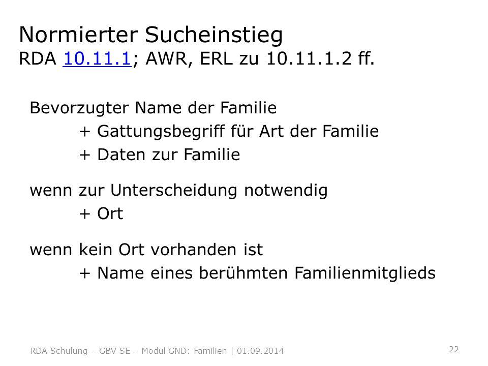 Normierter Sucheinstieg RDA 10.11.1; AWR, ERL zu 10.11.1.2 ff.10.11.1 Bevorzugter Name der Familie + Gattungsbegriff für Art der Familie + Daten zur F
