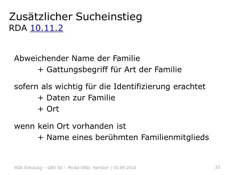 Zusätzlicher Sucheinstieg RDA 10.11.210.11.2 Abweichender Name der Familie + Gattungsbegriff für Art der Familie sofern als wichtig für die Identifizi