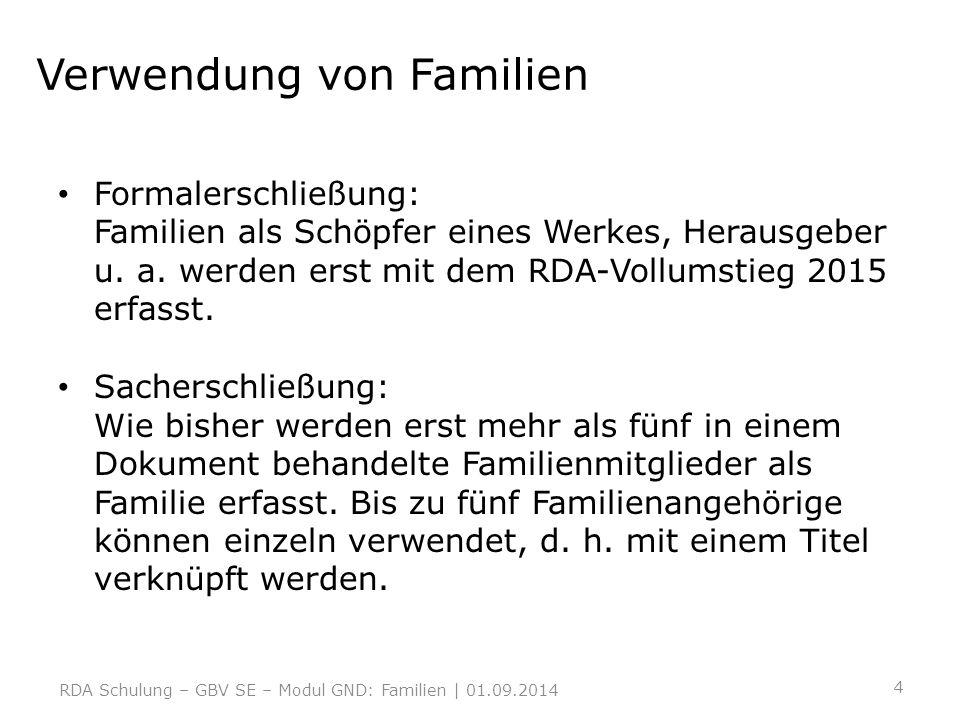 Verwendung von Familien Formalerschließung: Familien als Schöpfer eines Werkes, Herausgeber u. a. werden erst mit dem RDA-Vollumstieg 2015 erfasst. Sa