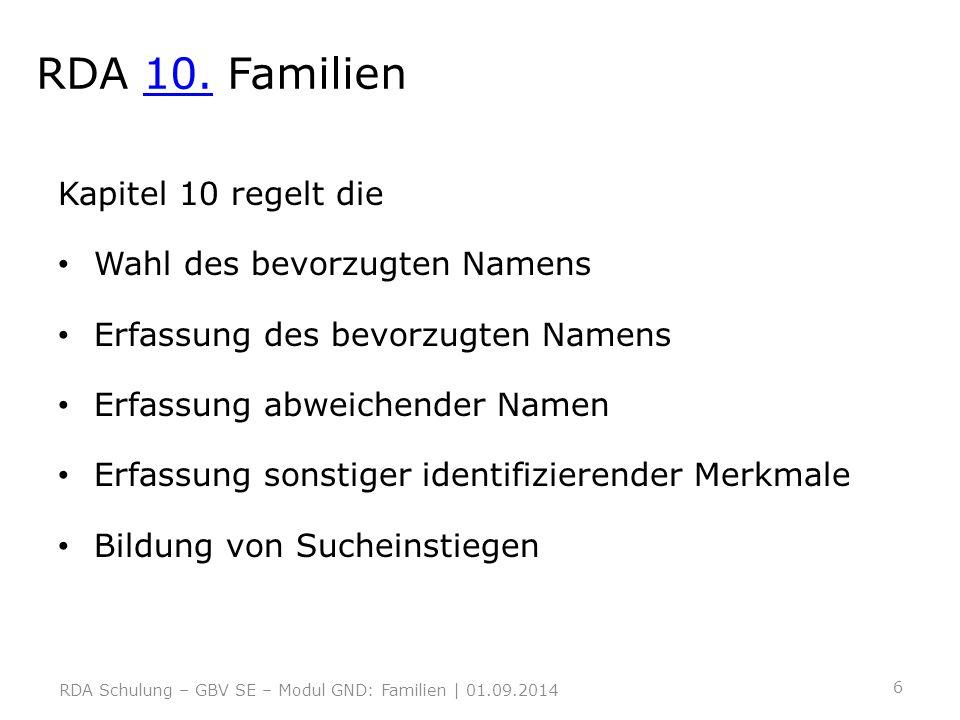 RDA 10. Familien10. Kapitel 10 regelt die Wahl des bevorzugten Namens Erfassung des bevorzugten Namens Erfassung abweichender Namen Erfassung sonstige