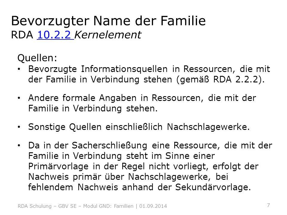 Bevorzugter Name der Familie RDA 10.2.2 Kernelement10.2.2 Gewählt wird im Allgemeinen der Name, unter dem die Familie allgemein bekannt ist.