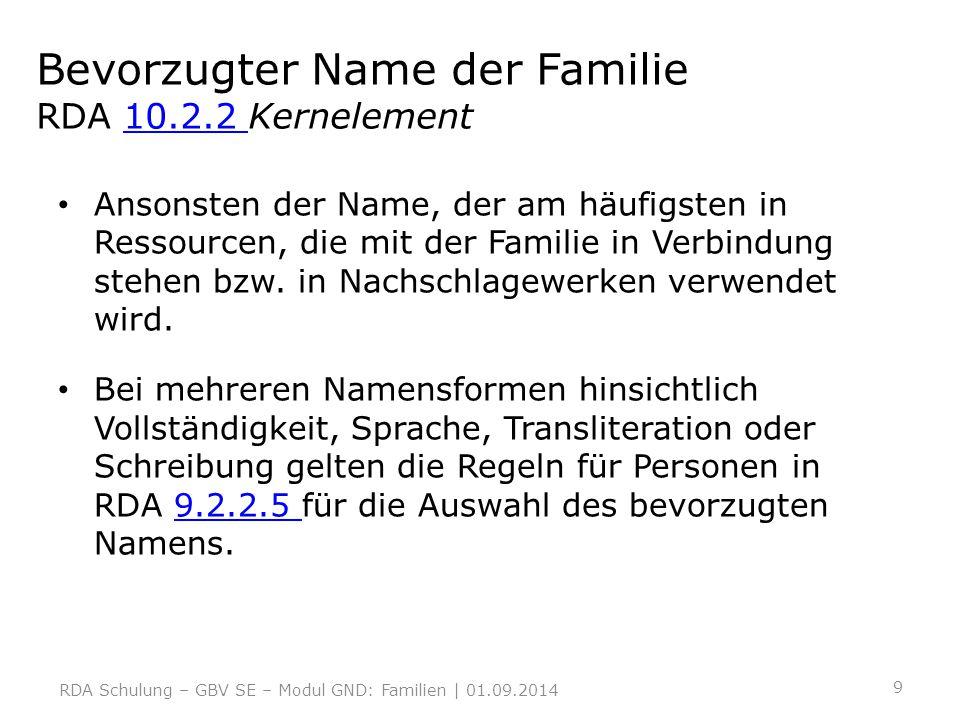 Bevorzugter Name der Familie RDA 10.2.2 Kernelement10.2.2 Ansonsten der Name, der am häufigsten in Ressourcen, die mit der Familie in Verbindung stehe
