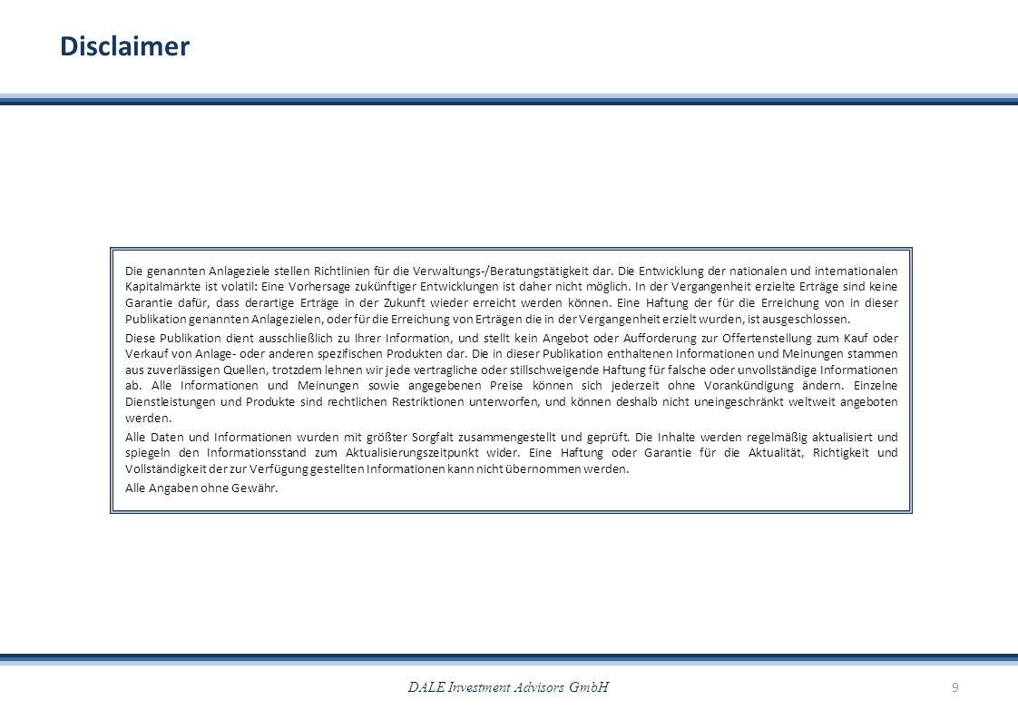 DALE Investment Advisors GmbH9 Disclaimer Die genannten Anlageziele stellen Richtlinien für die Verwaltungs-/Beratungstätigkeit dar. Die Entwicklung d