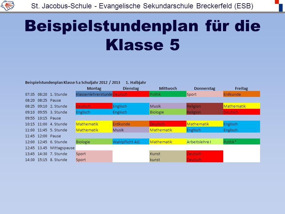 Beispielstundenplan für die Klasse 5 Beispielstundenplan Klasse 5 a Schuljahr 2012 / 2013 1. Halbjahr MontagDienstagMittwochDonnerstagFreitag 07:3508: