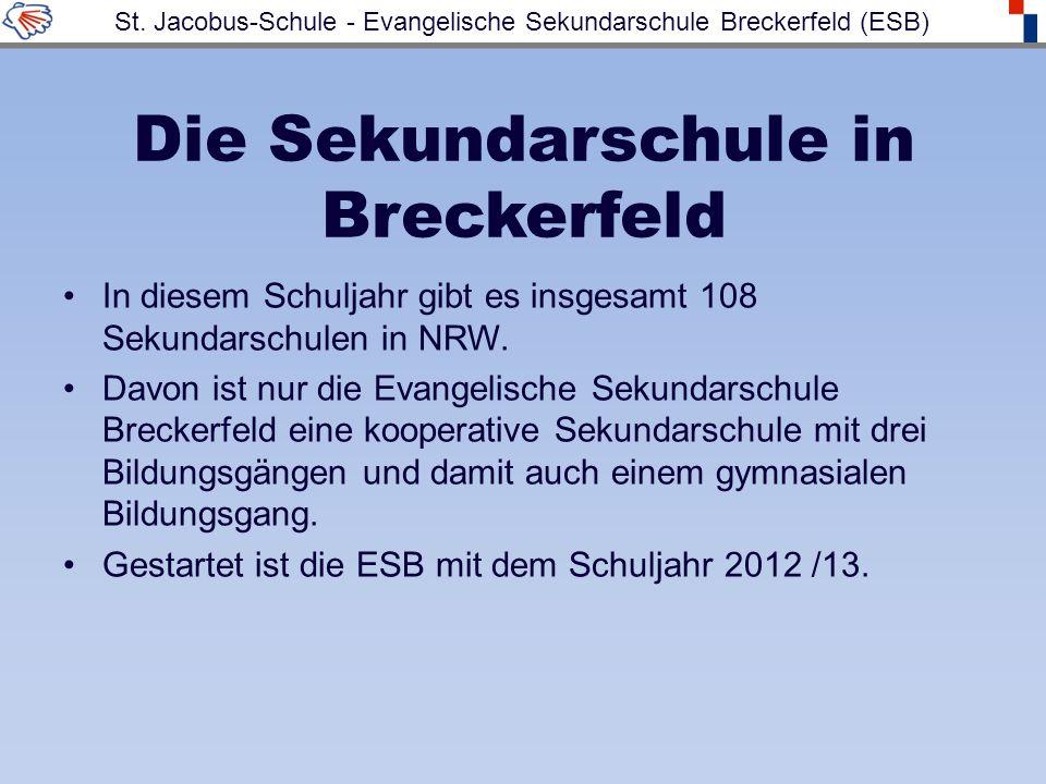 Die Sekundarschule in Breckerfeld In diesem Schuljahr gibt es insgesamt 108 Sekundarschulen in NRW. Davon ist nur die Evangelische Sekundarschule Brec